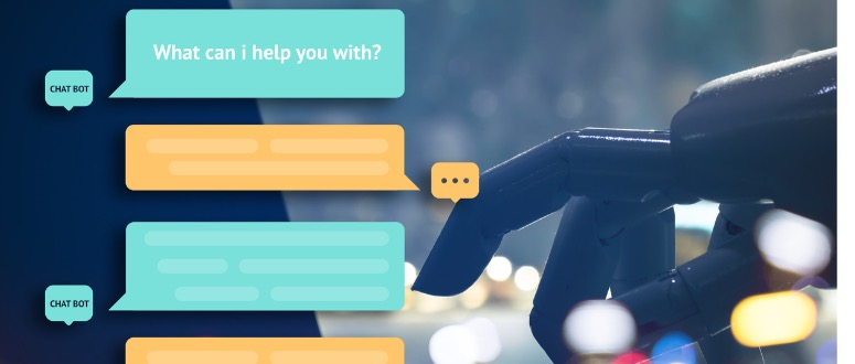 A photograph of a robot typing. Overlaid on the photograph is a conversation of a chat bot with an unknown person. The bot begins the conversation by asking What can I help you with?