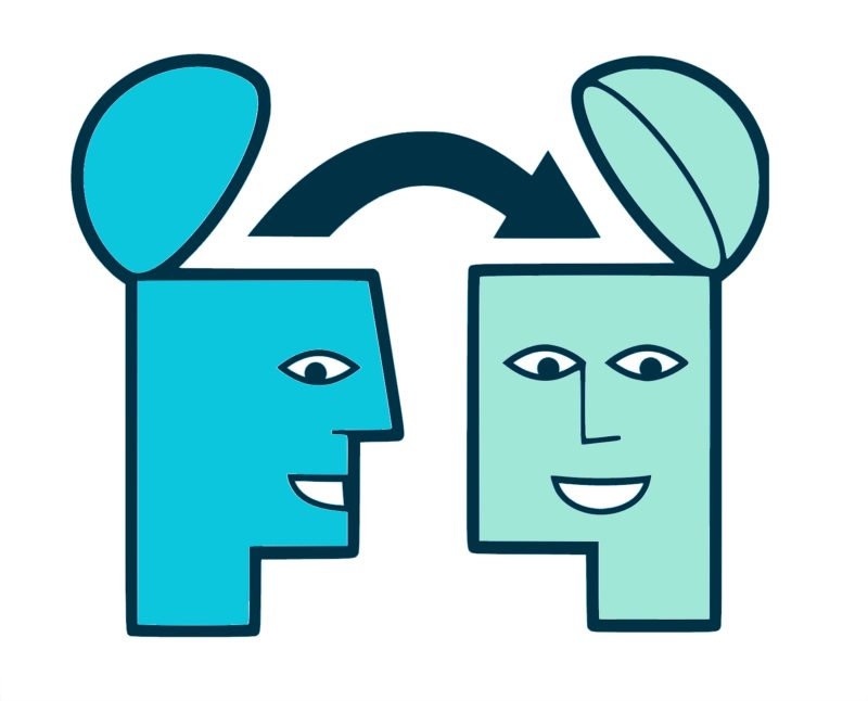 An illustration of two heads with the top of each head ajar. An arrow points from the inside of one head to the inside of the second head.
