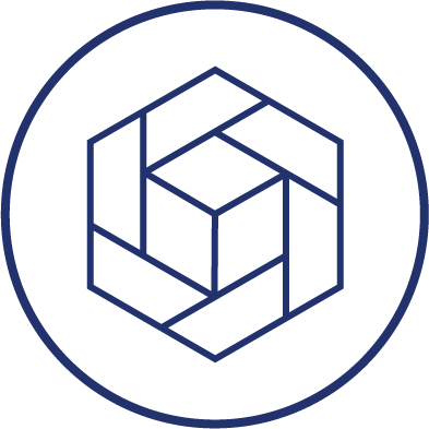 Design. A cube encased in a stylized hexagon inside of a circle.