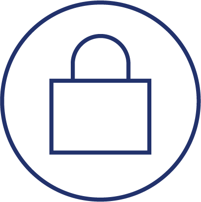 Trust. A padlock inside of a circle.
