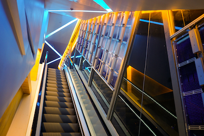 An escalator in a modern building.
