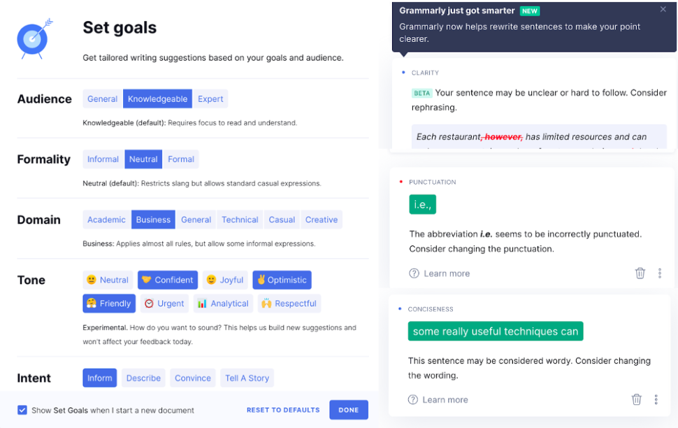 Screenshots of grammarly show recommended actions along with the reason to make the change.