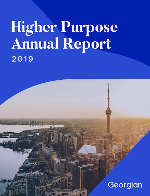 Higher Purpose Annual Report 2019. Georgian. A photograph of Toronto including the C N Tower.